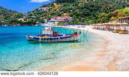 Greece. Idyllic beautiful beaches of Samos island - beautiful Limnionas. Greek summer hollidays
