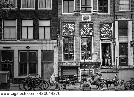 Amsterdam, Netherlands. June 06, 2021. Beautiful Facades Of The Old Dutch Buildings.