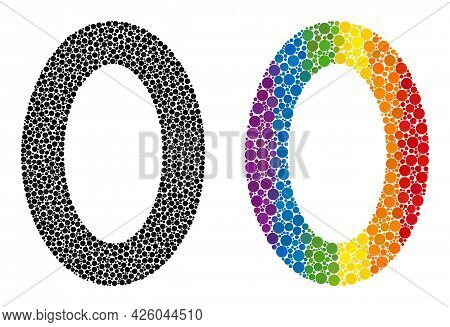 Digit Zero Collage Icon Of Circle Elements In Different Sizes And Rainbow Colored Color Hues. A Dott