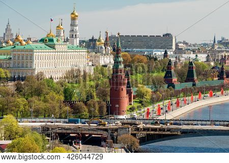 Aerial View Of The Moscow Kremlin, The Moskva River And The Kremlin Embankment On A Spring Day