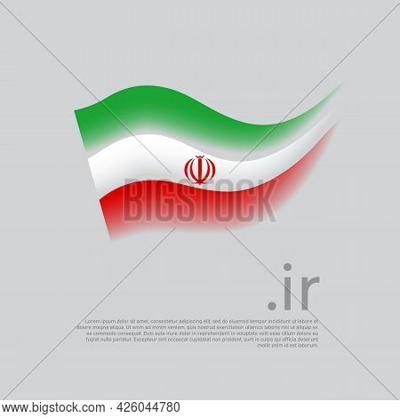 Iran Flag. Stripes Colors Of The Iranian Flag On A White Background. Vector Stylized Design National