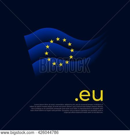 European Union Flag. Colored Stripes Of The Eu Flag On A Dark Background. Vector Stylized Poster, Ba