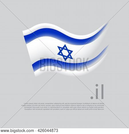 Israel Flag. Stripes Colors Of The Israeli Flag On A White Background. Vector Stylized Design Nation
