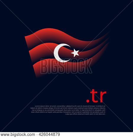 Turkey Flag. Colored Stripes Of The Turkish Flag On A Dark Background. Vector Stylized Design Of Nat