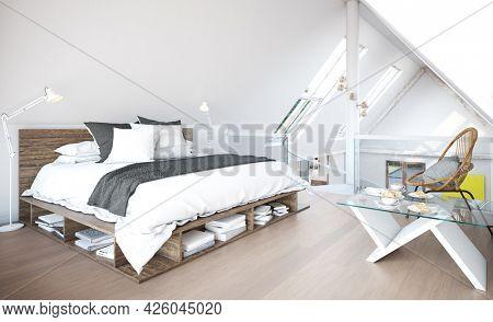 modern attic bedroom interior. 3d illustration design concept