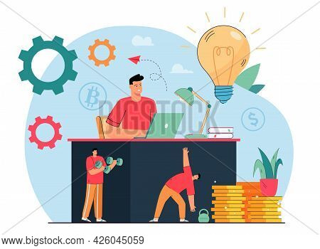Businessman Working At Office Table And Exercising. Man Doing Exercises And Making Money Flat Vector