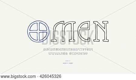 Hollow Slab Serif Font In The Style Of Hand Drawn Graphic. Cyrillic Letters And Numbers For Logo And