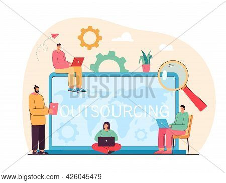 Group Of Business People With Laptops In Front Of Huge Computer. Process Of Recruitment Flat Vector