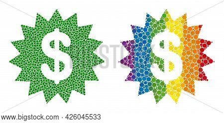 Dollar Rosette Mosaic Icon Of Filled Circles In Different Sizes And Spectrum Colorful Shades. A Dott