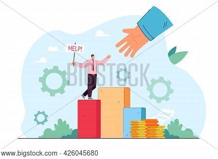 Businessman Asking For Help. Huge Hand Rescuing Man In Emergency Flat Vector Illustration. Teamwork,