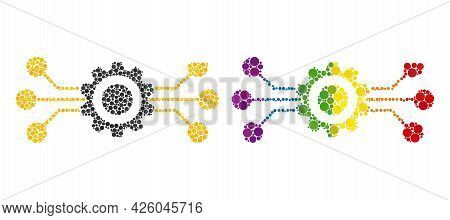 Hitech Gear Collage Icon Of Circle Elements In Variable Sizes And Rainbow Colored Color Tints. A Dot