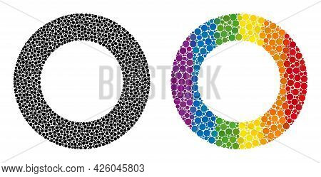 Donut Collage Icon Of Round Dots In Variable Sizes And Rainbow Colored Color Tints. A Dotted Lgbt-co