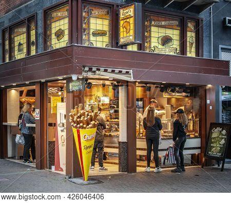 Amsterdam, Netherlands. June 06, 2021. Rene's Croissants Facade.