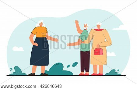 Old Woman Jealous Of Husband. Wife Holding Arm Of Elderly Person Greeting Lady In Street Flat Vector