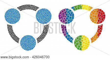 Collaboration Mosaic Icon Of Round Dots In Variable Sizes And Spectrum Multicolored Shades. A Dotted