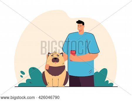 Dog Owner Brushing Fur Of Domestic Animal. Happy Pet Sitting, Male Character Smiling And Holding Bru