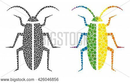 Cockroach Composition Icon Of Round Dots In Various Sizes And Rainbow Multicolored Shades. A Dotted