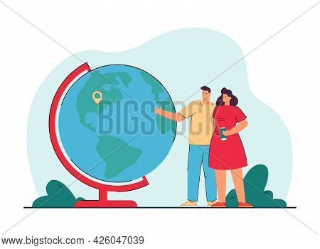 Young Couple Standing Next To Globe With Location Pin. Husband And Wife Picking Vacation Spot Flat V