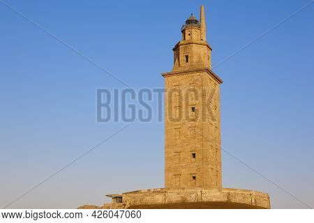 Hercules Tower Lighthouse In A Coruna, Galicia. Spain
