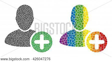 Add User Composition Icon Of Circle Spots In Various Sizes And Rainbow Colored Color Tints. A Dotted