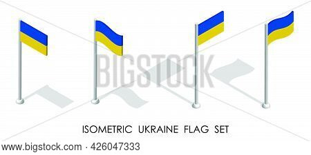 Isometric Flag Of Ukraine In Static Position And In Motion On Flagpole. 3d Vector