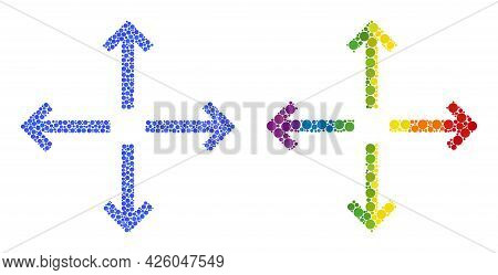 Expand Arrows Composition Icon Of Spheric Blots In Different Sizes And Rainbow Colored Color Tones.