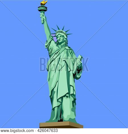 Liberty Statue New York United States Building Icon Vector Illustration