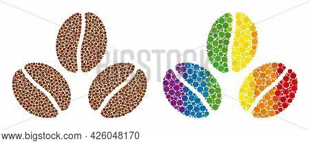 Cacao Beans Mosaic Icon Of Round Items In Variable Sizes And Rainbow Colored Color Tones. A Dotted L