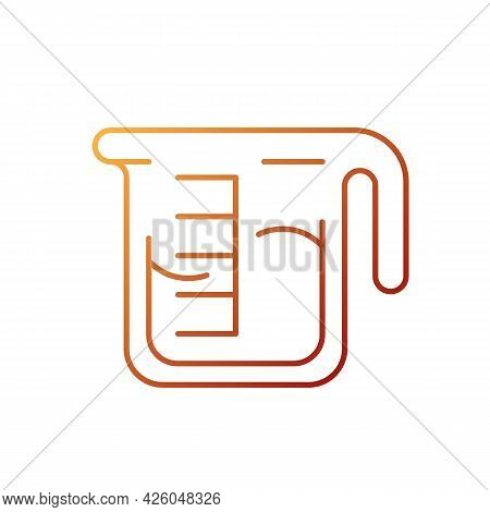 Coffee Measuring Cup Gradient Linear Vector Icon. Beaker With Drink. Kitchen Utensil For Espresso Pr