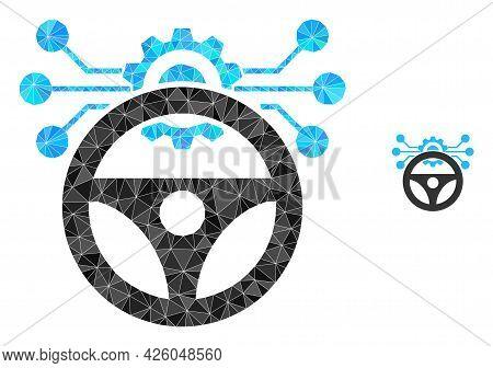 Triangle Car Autopilot Scheme Polygonal Symbol Illustration. Car Autopilot Scheme Lowpoly Icon Is Fi