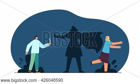 Shadow Of Female Superhero Stopping Criminal From Attacking Girl. Woman Running Away From Man With K