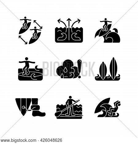 Water Activities Black Glyph Icons Set On White Space. Surfing Maneuvers. Keeping Distance Between S