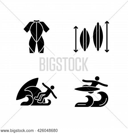 Surf Riding Black Glyph Icons Set On White Space. Wetsuit. Choosing Surfboard Size. Surf Wipeout. Fl