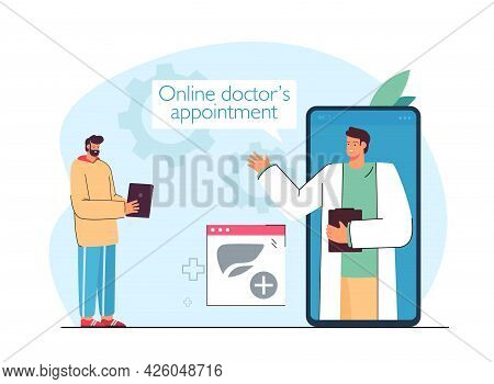 Patient Consulting Doctor Online Through Huge Phone. Medical Professional On Screen, Online Appointm