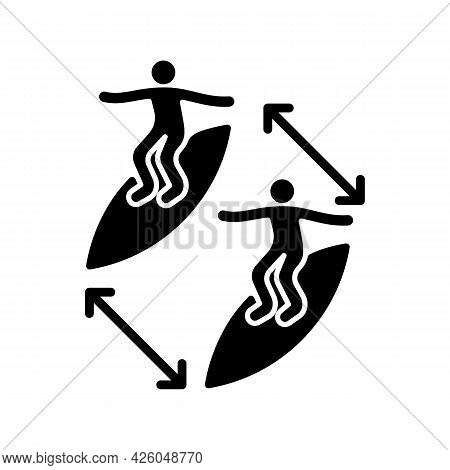 Keeping Distance Between Surfers Black Glyph Icon. Preventing Surfing Injuries. Avoid Contact With O
