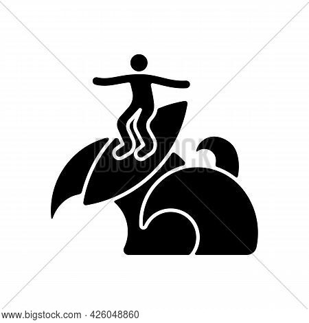 Floater Surfing Technique Black Glyph Icon. Ride Over Breaking Wave Top. Performing Advanced Level M