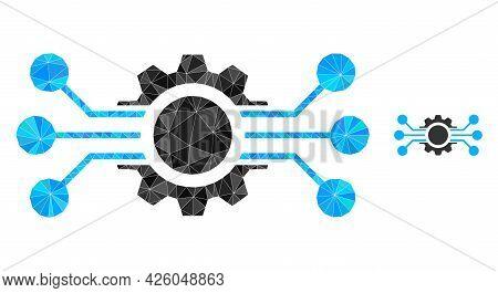 Triangle Digital Machine Polygonal Symbol Illustration. Digital Machine Lowpoly Icon Is Filled With