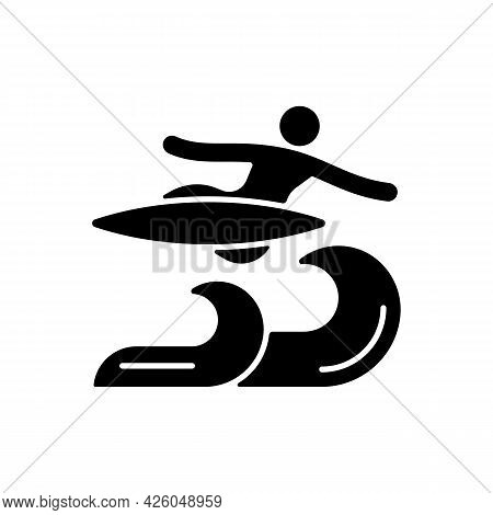 Air Surfing Technique Black Glyph Icon. Flight Maneuver. Flying Above Wave. Aerial Tricks On Ocean W