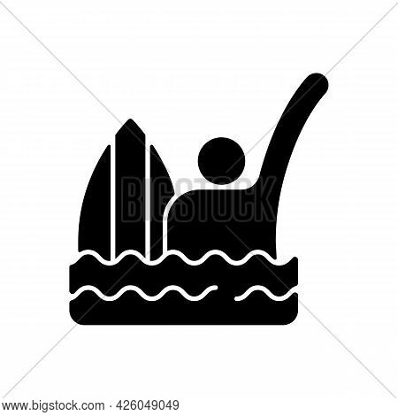 Emergency Signal For Drowning Black Glyph Icon. Waving Straight Arm Above Head. Surfer Being In Dang