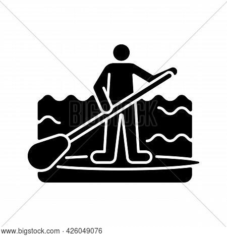 Paddle Board Surfing Black Glyph Icon. Sup Surfing. Upper Body Training. Requiring Balance, Coordina