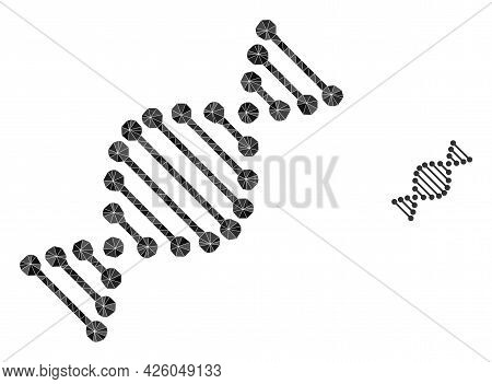 Triangle Dna Molecule Polygonal Icon Illustration. Dna Molecule Lowpoly Icon Is Filled With Triangle