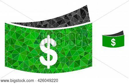 Triangle Dollar Bills Polygonal Symbol Illustration. Dollar Bills Lowpoly Icon Is Filled With Triang
