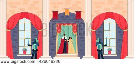 Cartoon King And Queen Inside Medieval Castle. Knights Or Guards Protecting Royals, Palace Interior