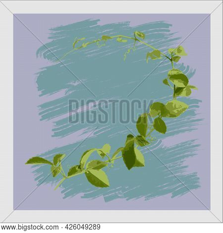 Drawing Of Branches Of Ivy Plants.on A Paintbrush Brush Background