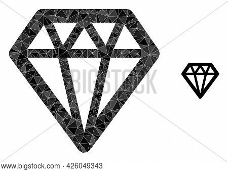 Triangle Diamond Polygonal Symbol Illustration. Diamond Lowpoly Icon Is Filled With Triangles. Flat