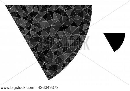 Triangle Circle Sector Polygonal Icon Illustration. Circle Sector Lowpoly Icon Is Filled With Triang