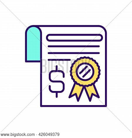 Inheritance Certificate Rgb Color Icon. Charitable And Donation Event. Acquiring Deceased Estate. Is