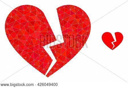 Triangle Broken Love Heart Polygonal Symbol Illustration. Broken Love Heart Lowpoly Icon Is Filled W