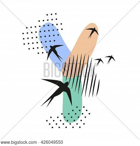 Minimalistic Pattern An Oriental Style In Form Of Letter Y. Flock Of Swallows Flies. Abstract Object