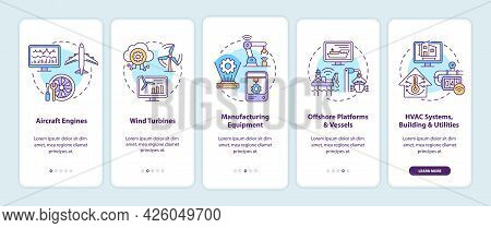 Digital Twin Application Onboarding Mobile App Page Screen. Aircraft Engines Walkthrough 5 Steps Gra